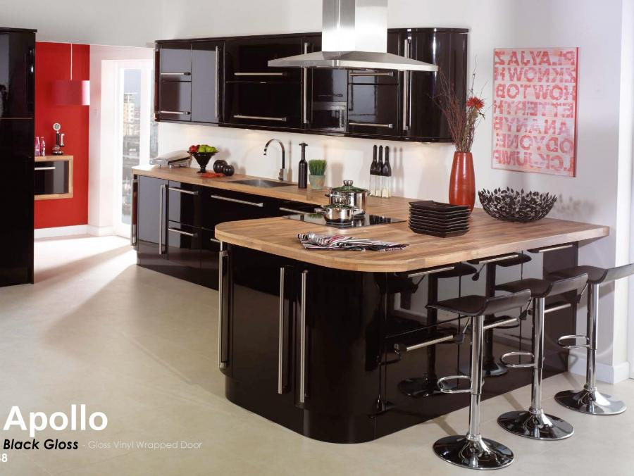 Apollo - Black Gloss - Gloss Vinyl Wrapped Door