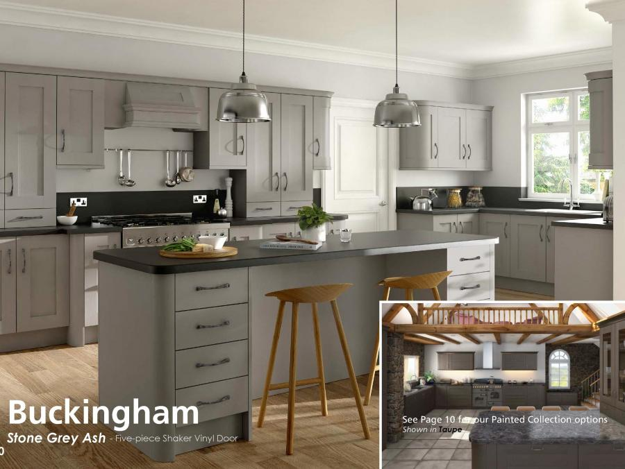 Buckingham - Stone Grey Ash - Five-piece Shaker Vinyl Door