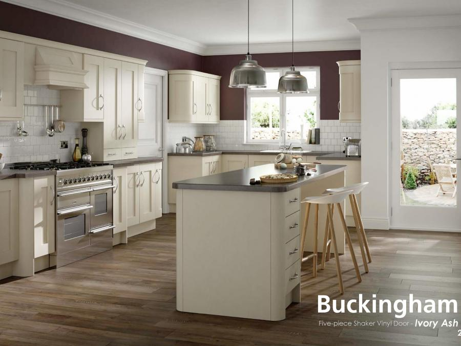 Buckingham - Five-piece Shaker Vinyl Door - Ivory Ash