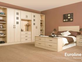 Euroline - Contemporary Vinyl Wrapped Door - Pearwood