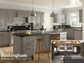Buckingham - Stone Grey Ash - Five-piece Shaker Vinyl Door